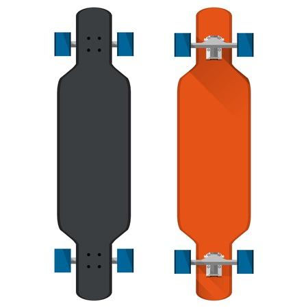skateboard park: Longboards negro y rojo con ruedas azules. Dos ilustraciones vectoriales planas en blanco.