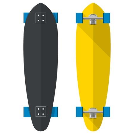 skateboard park: Longboards ovales negras y amarillas con ruedas azules. Dos ilustraciones vectoriales planas en blanco.