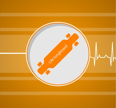 Flat vector illustration of longboard which gives a life on striper orange background.