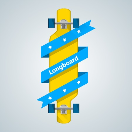 swell: Flat vector illustration of yellow longboard with blue ribbon with stars and word Longboard.