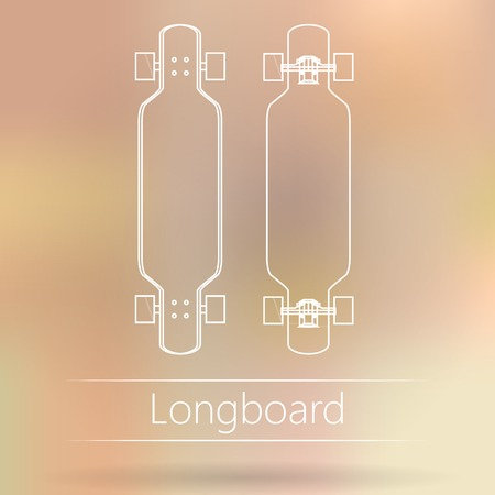 White outline mock up for longboards. Two vector illustrations on colored background.
