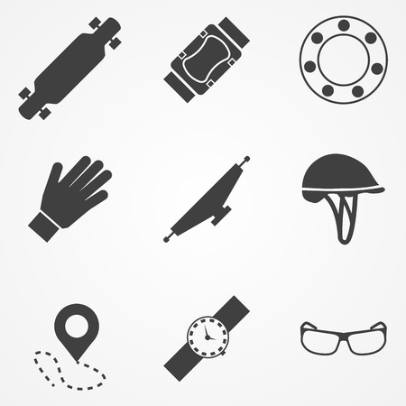 rollerblade: Set of black silhouette vector icons with symbols of protection for longboarding or other extreme sport.