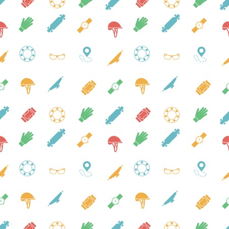 rollerblade: Seamless vector pattern with colored symbols of protection for longboarding or other extreme sport on white background.