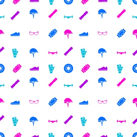 rollerblade: Seamless vector pattern with colored elements of protection for longboarders or other extreme sport on white background.
