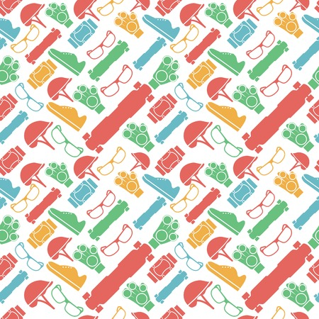 Seamless vector pattern with colored elements of protection for longboarders or other extreme sport on white background. Vector