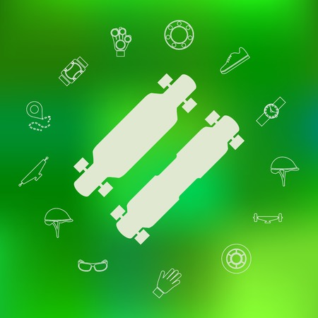 rollerblade: Silhouette vector icons for longboard with contour symbols of protection for longboarding or other extreme sport around. Set of icons on green background.