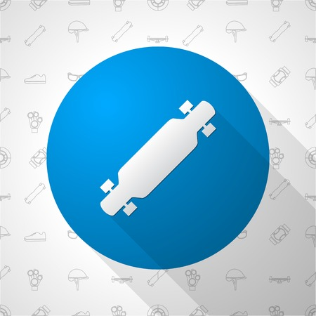 rollerblade: Blue circle vector icon with white silhouette longboard on thematic seamless background with elements of protection for longboarders or other extreme sport. Illustration