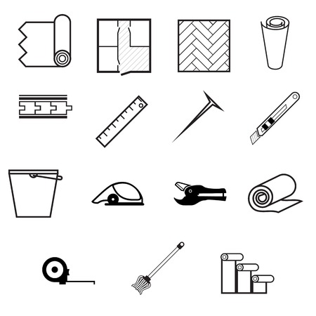 carpet and flooring: Set of black contour vector icons for working with linoleum on white background. Illustration