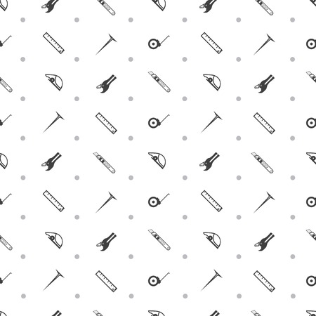 stone cutter: Seamless vector pattern with black contour tools for working with linoleum on white background.