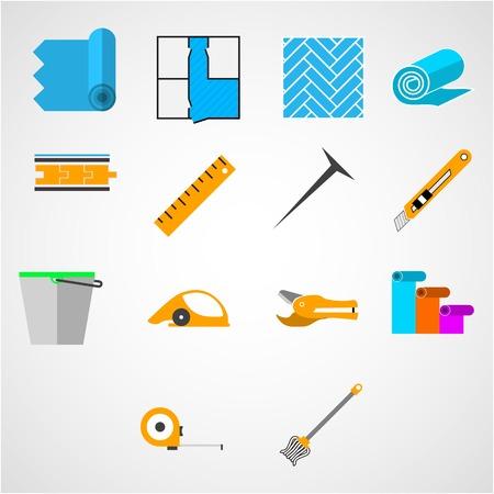 materiales de construccion: Conjunto de iconos vectoriales de colores con herramientas para trabajar con linóleo en el fondo blanco.