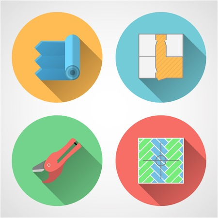 linoleum: Set of colored circle flat vector icons with symbols for linoleum flooring service on gray background.
