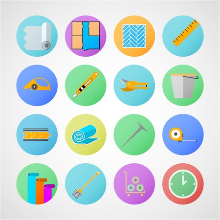 Set of colored circle flat vector icons with symbols for linoleum flooring service on gray background.