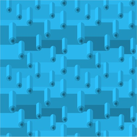 carpet and flooring: Blue seamless vector pattern with linoleum rolls.