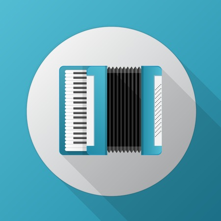 pneumatic: Gray circle flat vector icon for blue accordion on blue background.