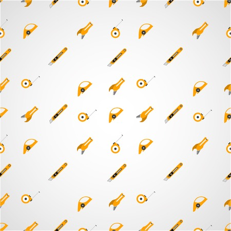 carpet and flooring: Vector seamless pattern with yellow tools for linoleum flooring service on gray background.