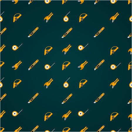 refit: Vector pattern with yellow tools for linoleum flooring service on black background.
