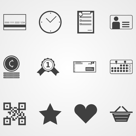 Set of black contour vector icons for online shopping process on gray background. Vector