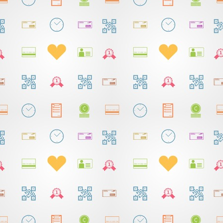Seamless vector pattern with colored signs for e-shop on gray background. Vector