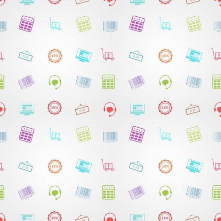 Seamless vector pattern with colored signs for online sales on gray background. Vector