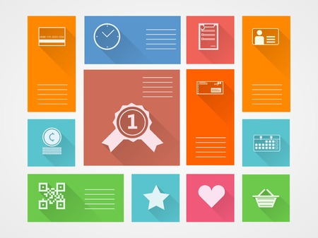 Square colored flat vector icons for internet purchase with place for your text. Vector