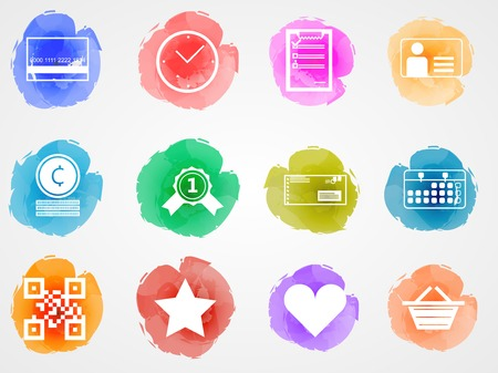 Set of vector colored watercolor stains icons with white contour elements for internet retail business on gray background. Vector