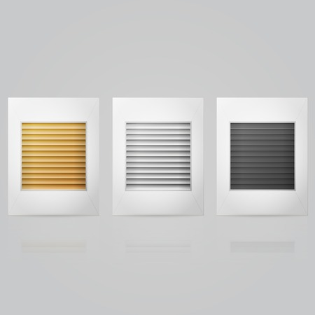 concealed: Set of gold, silver and black horizontal window louvers in frame. Three isolated vector illustrations on gray.