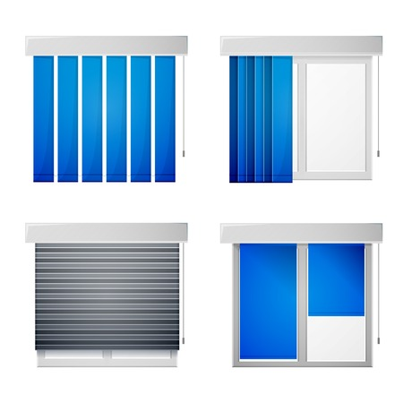 roll curtains: Gray windows with different types blue louvers.