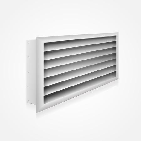 Gray ventilation louver perspective view. Vector