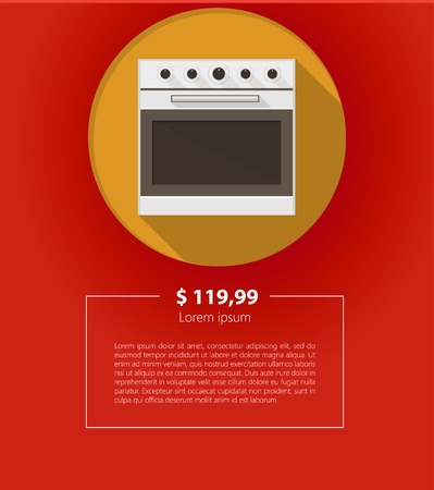 for example: Circle yellow mock up for kitchen stove with price and example text.