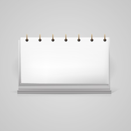 Blank white desktop loose-leaf calendar mock up with shadow effect, a front view.  Vector