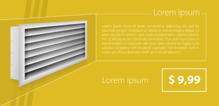 vent: Mock up for gray ventilation shutters with price and example text.