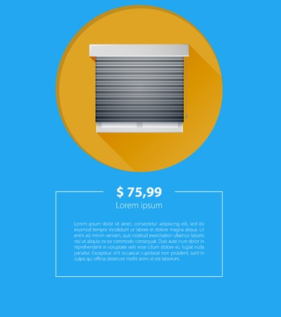 for example: Mock up for sale of windows with gray roller shutters on yellow circle with prices and example text.  Illustration