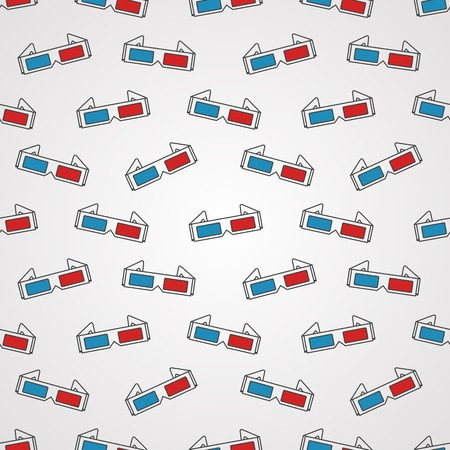 stereoscopic: Seamless vector pattern with contour 3d cinema glasses with red and blue lens on gray background.