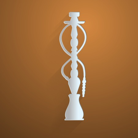 Flat gray silhouette vector icon for hookah on brown background. Vector