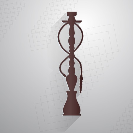 Flat brown silhouette vector icon for hookah on gray abstract background.