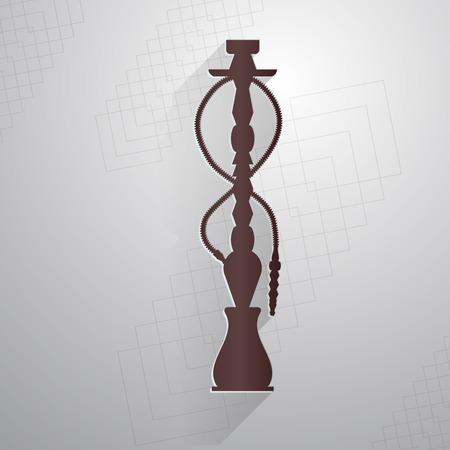 narghil�: Piatto marrone icona silhouette vettoriale per narghil� su sfondo grigio astratto.