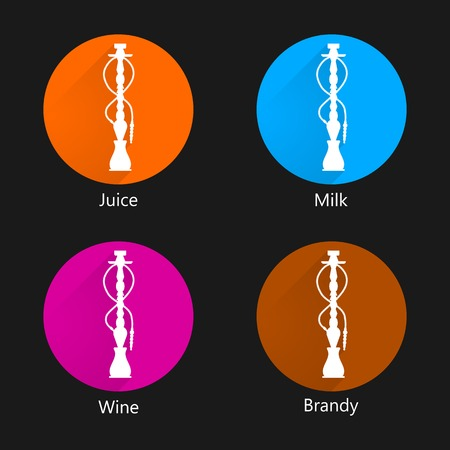 Circle colored icons for hookah with different liquid for shisha on black background. Illustration