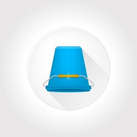 inverted: Flat circle vector icon with blue inverted bucket on gray background. Illustration