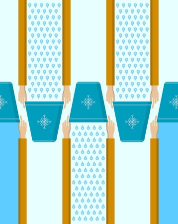 inverted: Vector pattern with flat hands with blue inverted bucket on blue background.