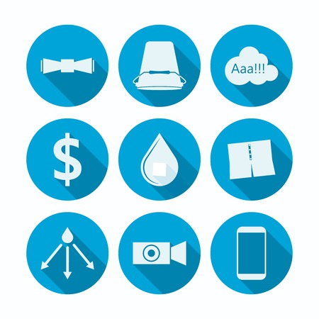 Set of blue circle flat vector icons with silhouette symbols of popular project on white background. Ilustração