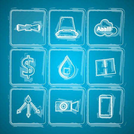Set of white sketch vector icons with symbols of popular project on blue background. Vector Illustration
