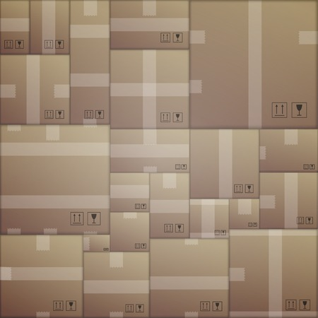 Seamless vector pattern with randomly arranged cardboard boxes. Vector