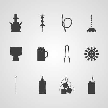 Set of black silhouette vector icons for hookah accessories on gray background.
