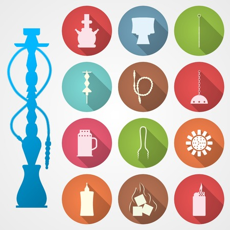 hooka: Set of colored circle vector icons with white silhouette accessories for hookah on gray background.