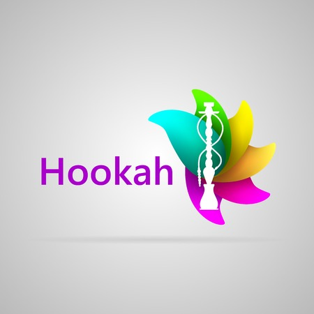 hookah: Abstract illustration of white silhouette hookah on the colorful flavour petals and word Hookah. Isolated vector illustration on gray.