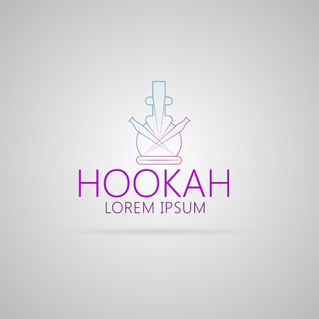 hooka: Purple contour abstract hookah with example text. Isolated vector illustration on gray. Illustration