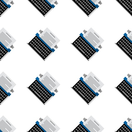 Seamless vector pattern with gray typewriters on white background. Vettoriali