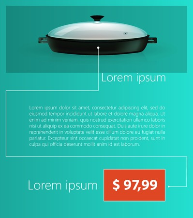 fryer: Flat vector illustration of two handles black fryer with lid with sample text and price on blue background.