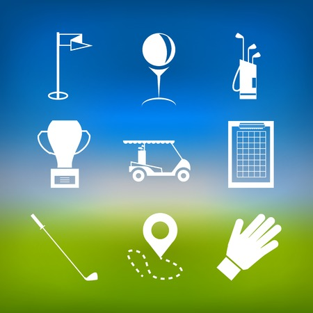 Set of white silhouette icons for golf on colored green and blue background. Vector