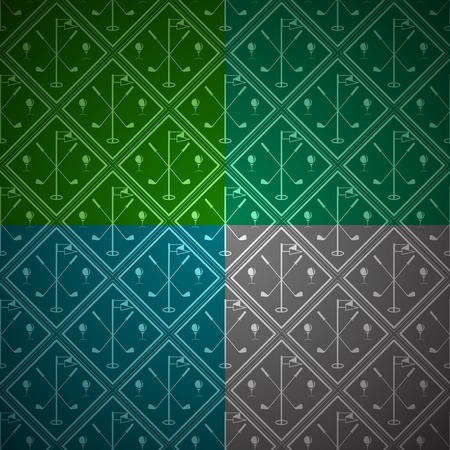playing golf: Seamless abstract pattern with rhombus with silhouette equipment for golf